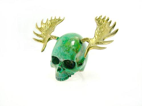 Patina color Skull moose horn ring