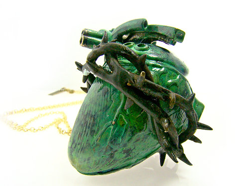 Patina Color Heart of thorn pendant