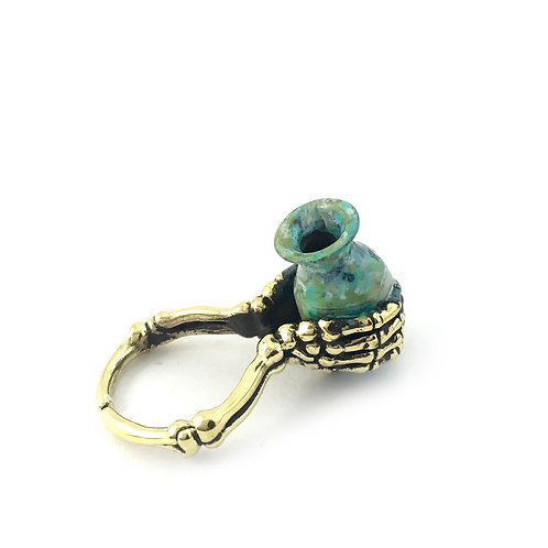 Aquarius Water Bearer Zodiac ring Patina color