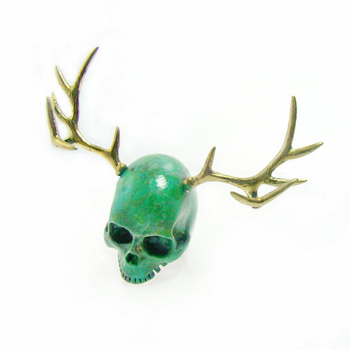 Patina color Skull Stag horn ring