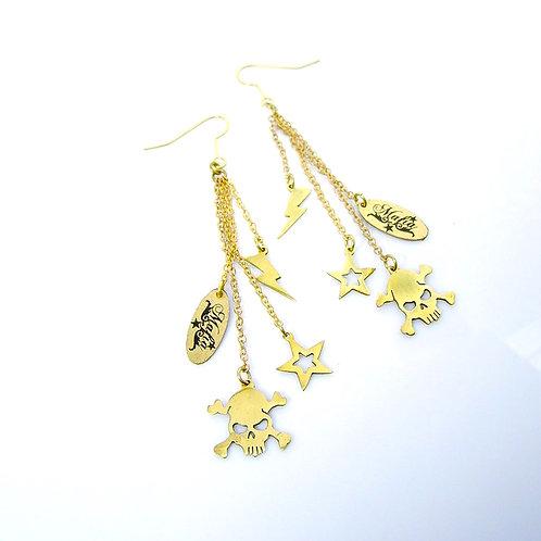 Skull Star Thunder earring in brass