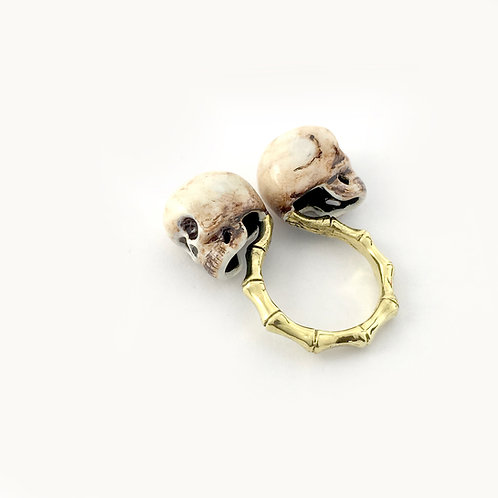Gemini Twins skull  Zodiac ring in Realistic color