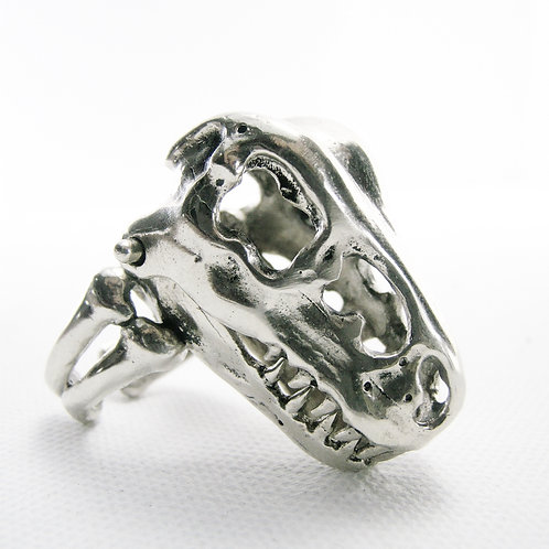 Jurassic Park T Rex Skull Ring in white bronze