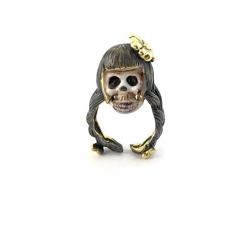 Virgo Virgin women skull Zodiac ring Realistic
