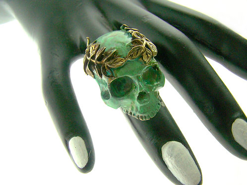 Patina Color skull wing ring in brass
