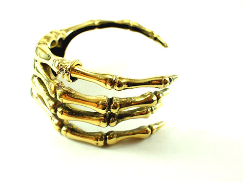Skeleton jewelry collection-Handcrafted Skeleton hand bangle in white bronze