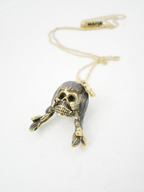 Virgin  skull for Virgo Brass  Zodiac pendant