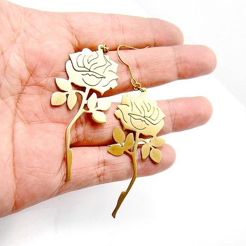 Roses earring in brass