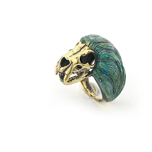 Leo Lion skull   Zodiac ring in  Patina color