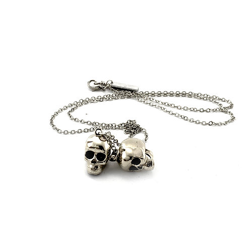 Zodiac pendant Twins skull for Gemini in white bronze
