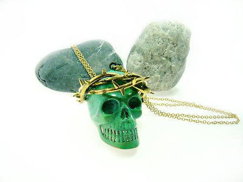 Patina Skull with thorn crown pendant