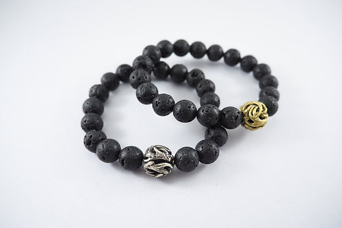 Horn bead 10 m.m. Lava stone Skeleton jewelry Handcrafted