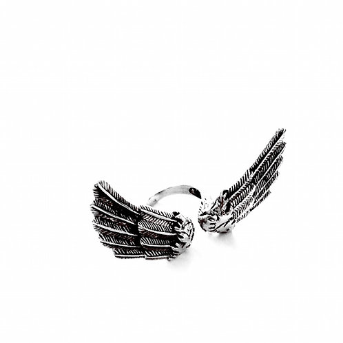 Angel wing ring in white bronze