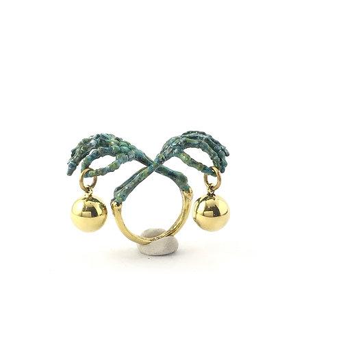 Libra Scales hand bone Zodiac ring Patina color
