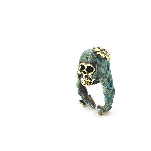 Virgo Virgin women skull  Zodiac ring Patina color