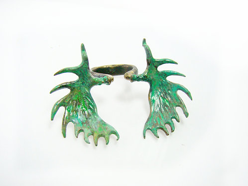 Patina color Moose horn ring
