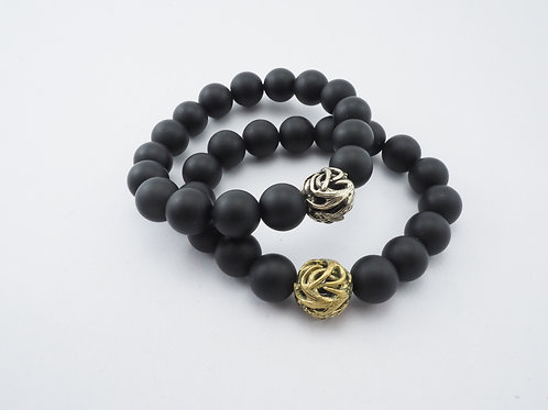 Horn bead 10 m.m. matte black agate Skeleton jewelry Handcrafted