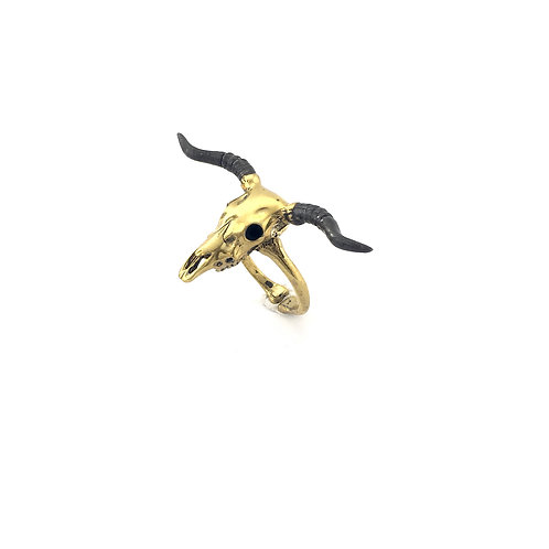 Taurus Bull skull Zodiac ring in Brass