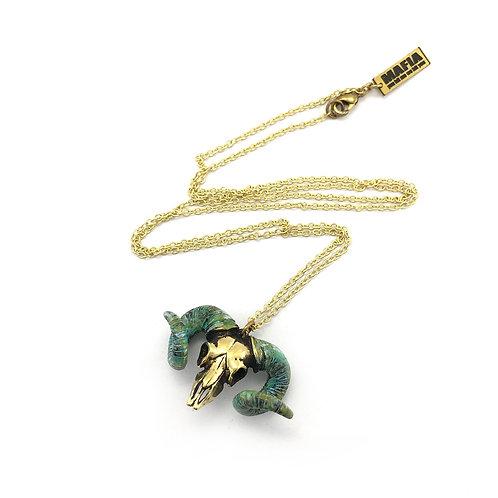 Aries Skull Ramble Zodiac pendant Green Patina color