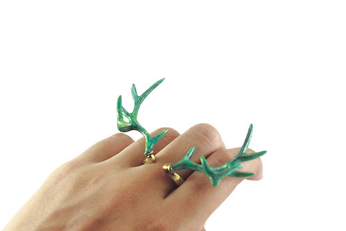 Patina color Stag horn ring