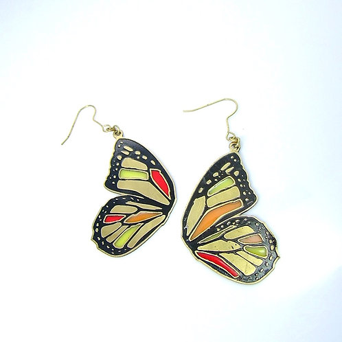 Orange Butterfly wing stand glass  earring