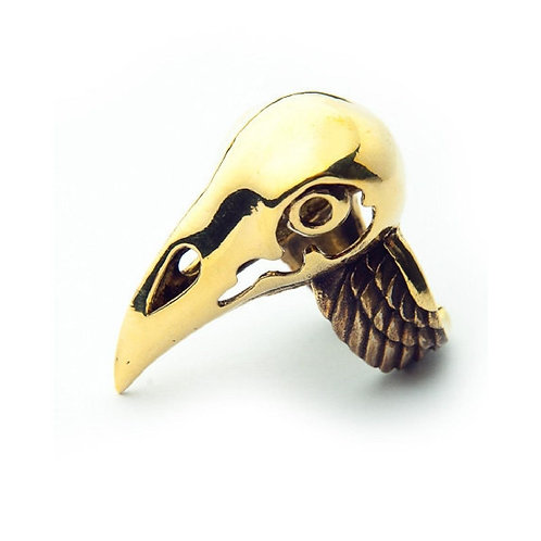 Crow skull ring in brass and oxidized color