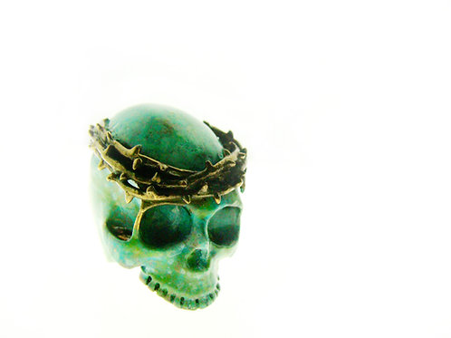 Patina Color thorn crown skull  ring