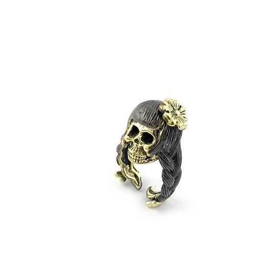 Virgo Virgin women skull  Zodiac ring in Brass