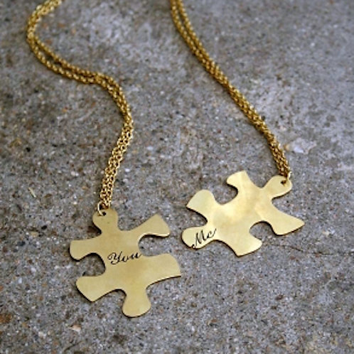 Couple pendant Jigsaw you&me in brass