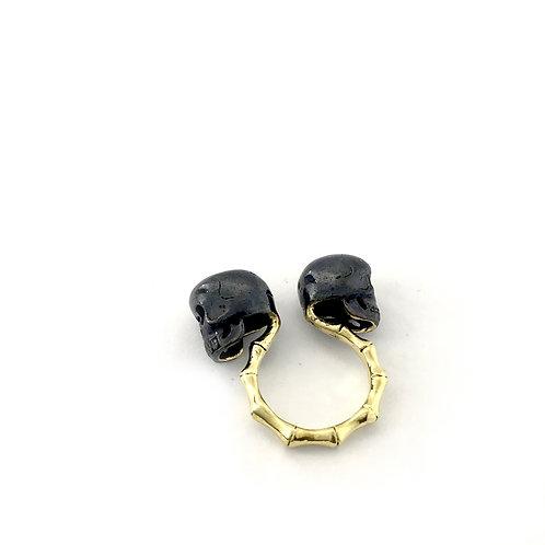 Gemini Twins skull  Zodiac ring in Brass