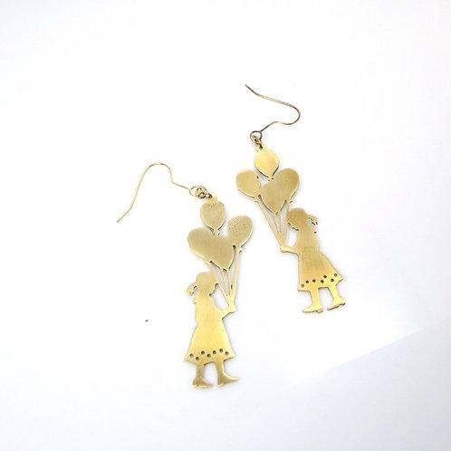 Balloon Girl earring in brass