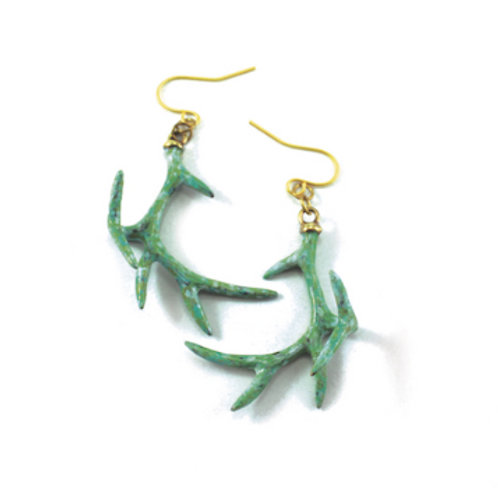 Patina Color Stag horn earring