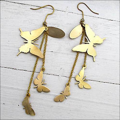3 butterfly earring in brass hand sawing