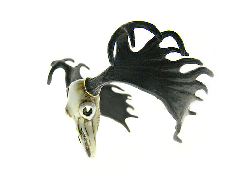 Handcrafted Realistic painting Moose Skull bangle in brass and oxidized color