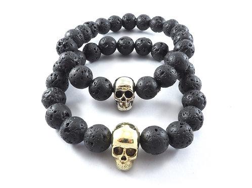 Skull bead 10 m.m. Lava stone Skeleton jewelry Handcrafted