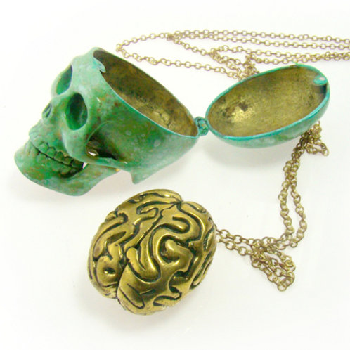 Patina Color Skull with brain pendant