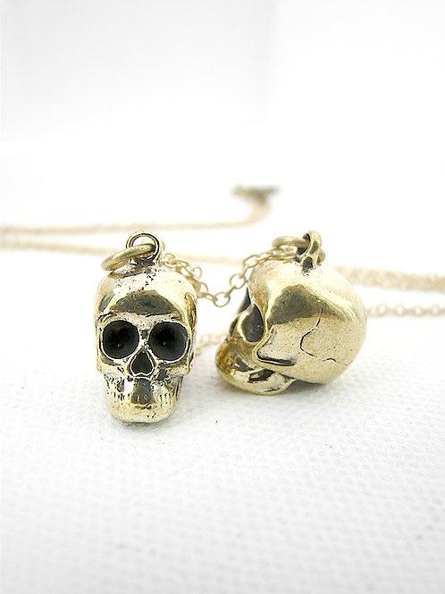 Gemini Twin Skull  Brass Zodiac pendant