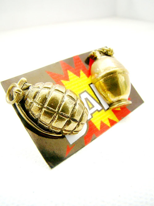 Golden Brass grenade studs earring