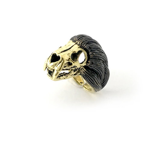 Leo Lion skull   Zodiac ring in Brass