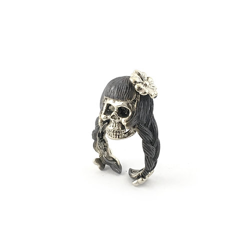 Virgo Virgin women skull  Zodiac ring in white bro