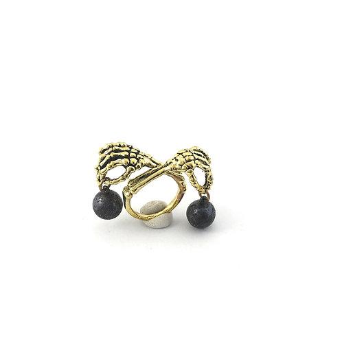 Libra Scales hand bone Zodiac ring in Brass