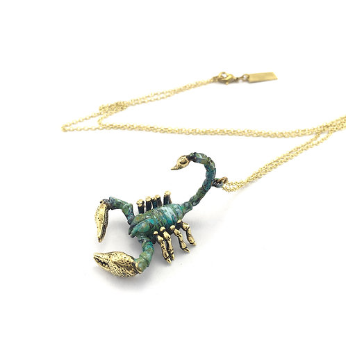 Scorpion for Scorpio  patina Zodiac pendant Collection