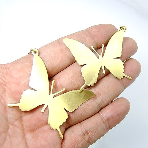 Butterfly earring in brass