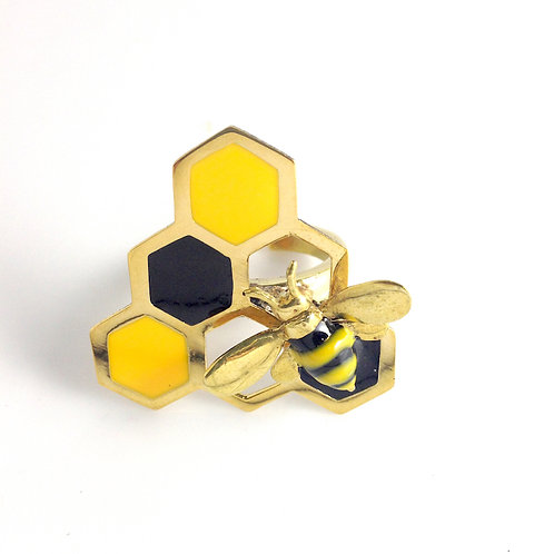 Bee and beehive stand glass ring in brass