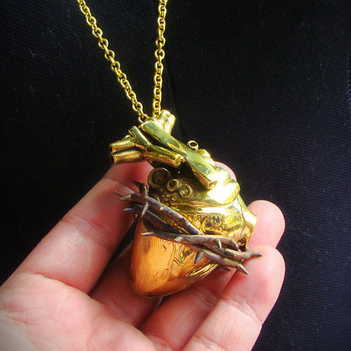 Heart of thorn pendant in brass