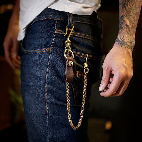 Handcrafted Spinning skull wallet chain and leather key holder in brass