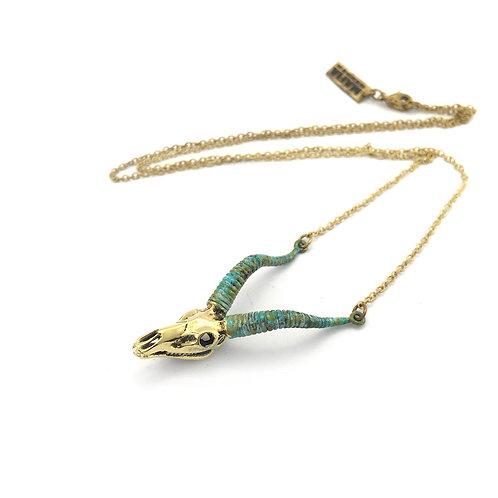 Capricorn  Sea-Goat skull patina  Zodiac pendant