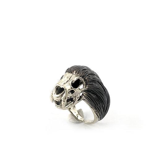 Leo Lion skull   Zodiac ring in white bronze