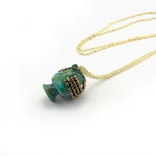 Aquarius  The Water Bearer patina Zodiac pendant