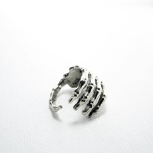 Hand bone ring in white bronze with
